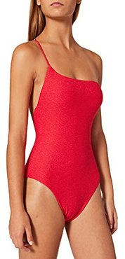 One Shoulder Maillot Costume Intero, Rosso Peperoncino, 48 Donna