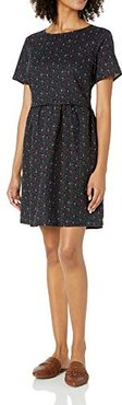 Washed Linen Blend Short-Sleeve Fit-And-Flare Dress Dresses, Navy Mini Floreale, XS