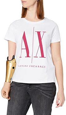 Icon Project T T-Shirt, Bianco (White/Fuchsia Agate 7142), X-Large Donna