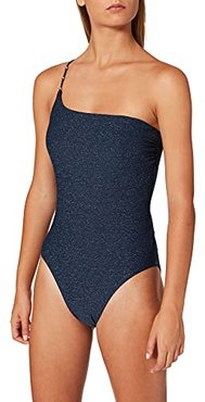 One Shoulder Maillot Costume Intero, Indaco, 40 Donna