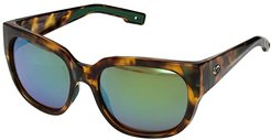 Waterwoman (Green Mirror 580G/Shiny Palm Tortoise Frame) Fashion Sunglasses
