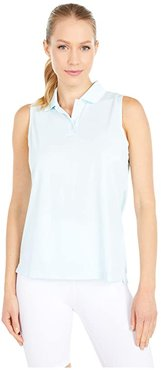 Dry Victory Sleeveless Polo Solid (Topaz Mist/White/White) Women's Clothing