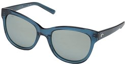 Bimini (Gray Silver Mirror 580G/Shiny Deep Teal Crystal) Fashion Sunglasses