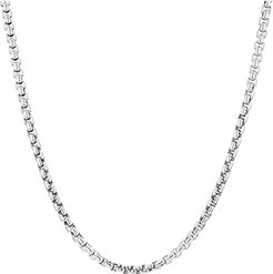 Classic Chain 4 mm. Box Chain Necklace (Silver) Necklace
