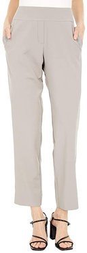 KL Leisure Stretchy Pull-On Pants with Side Pockets and Faux Fly Front (Beige) Women's Casual Pants