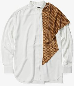 Scarf Wrap Blouse (Ivory/Gold) Women's Clothing
