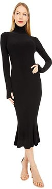 Long Sleeve Turtle Fishtail Dress To Midcalf (Black) Women's Clothing