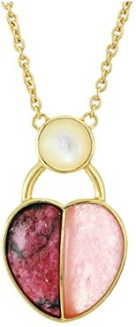 30 Heart Pendant Necklace (12K Soft Polish Gold/Crystal/Pink Aventurine/Spurite/Ivory Pearl) Necklace