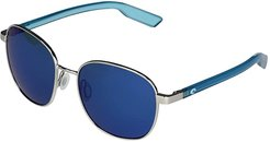 Egret (Brushed Silver/Blue Mirror Lens) Fashion Sunglasses