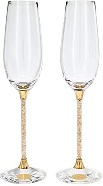 Crystalline Toasting Flutes, Gold-Tone (Set of 2) (Gold) Glassware Cookware
