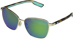 Paloma (Shiny Gold/Green Mirror Lens) Fashion Sunglasses