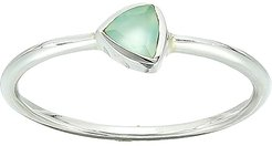 Triangle Chalcedony Stone Ring (925 Sterling Silver/Blue Chalcedony) Ring