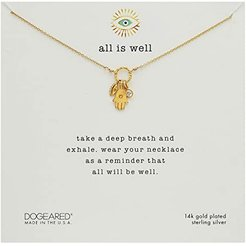 All Is Well, Hamsa , Seeing Eye, Crystal Cluster On Sparkle Ring (Gold Plated) Necklace