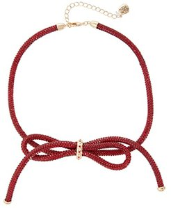 Mesh Bow Frontal Necklace (Red) Necklace