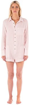 Soft Striped Linen Romper (Pink/White) Women's Jumpsuit & Rompers One Piece