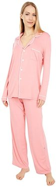 Collared Pajama Set (Strawberry/Natural) Women's Pajama Sets