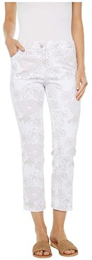 Fine Lines Floral Printed Five-Pocket Jeans in White/Camel (White/Camel) Women's Jeans
