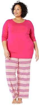 Plus Size Long Sleeve Loosey Goosey Tee Pants PJ Set (Forest Fruit Stripe) Women's Pajama Sets