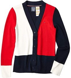 Adaptive Cardigan Sweater with Magnetic Buttons (Masters Navy Multi) Women's Clothing