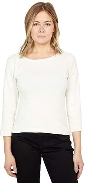 100% Cotton Heritage Knit 3/4 Sleeve British Tee (Pristine) Women's Long Sleeve Pullover