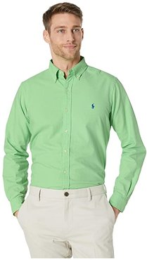 Classic Fit Long Sleeve Oxford Shirt (Green) Men's Clothing