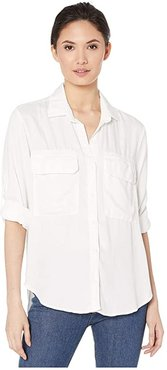 Patch Pocket Utility Shirt in Satin Tencera (White) Women's Clothing