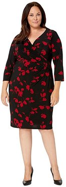 Plus Size Printed Matte Jersey Cleora Long Sleeve Day Dress (Black/Scarlet Red) Women's Clothing