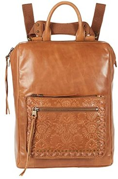 Loyola Leather Convertible Backpack (Tobacco Floral Embossed) Backpack Bags