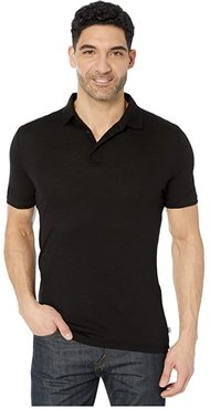 Merino Light Short Sleeve Polo (Black) Men's Clothing
