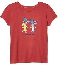Dog and Cat Flags Crusher Tee (Little Kids/Big Kids) (Faded Red) Girl's Clothing