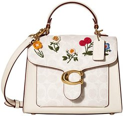Coated Canvas Signature Floral Embroidery Tabby Top-Handle 20 (B4/Chalk/Chalk) Bags