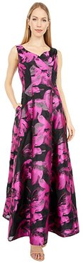 Organza Jacquard Sweatheart Neck Ball Gown (Black/Pink Organza) Women's Dress