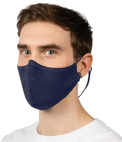 Soft Stretch Face Mask w/ Moldable Nose Pad and Lanyard 3-Pack (Navy) Scarves