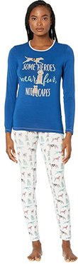 Long Sleeve Fitted Pajama Set (Natural Canine First Responders) Women's Pajama Sets