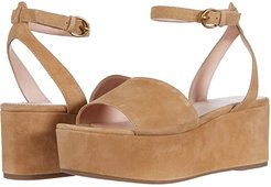 Wide Strap Ginger Platform (Old Lace Suede) Women's Wedge Shoes
