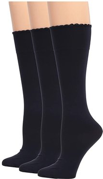 Graduated Compression Opaque Knee High 3-Pair Pack (Navy/Navy/Navy) Women's No Show Socks Shoes