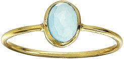 Chalcedony Oval Stone Ring (Brass Base/18K Gold Plating/E-Coat/Blue Chalcedony) Ring