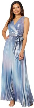 Tie-Dye Long Maxi Dress with Sunburst Pleats and Surplus Neckline (Blue/Pink Haze) Women's Dress