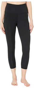High-Waist Capris with Pockets (Deep Black) Women's Casual Pants