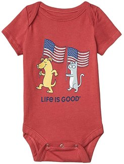Dog and Cat Flags Crusher Bodysuit (Infant) (Faded Red) Kid's Jumpsuit & Rompers One Piece