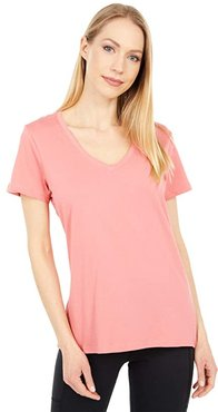 Organic Cotton Midweight V-Neck Tee (Tea Rose) Women's Clothing