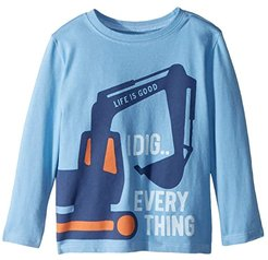 I Dig Everything Crusher T-Shirt Long Sleeve (Toddler) (Powder Blue) Kid's T Shirt