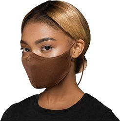 Soft Stretch Face Mask w/ Moldable Nose Pad and Lanyard 3-Pack (Cocoa) Scarves
