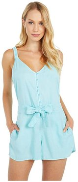 Belted Romper w/ Smocked Back (Sea Spray) Women's Jumpsuit & Rompers One Piece