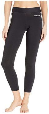 Essential 3-Stripes Long Tights (Black/White) Women's Workout
