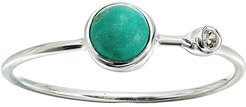 Double Stone Ring (925 Sterling Silver/Genuine Turquoise/Cubic Zirconia) Ring