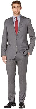 Solid Stretch Skinny Suit (Silver) Men's Suits Sets