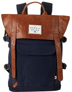 Top Side Leather Backpack (Navy) Backpack Bags