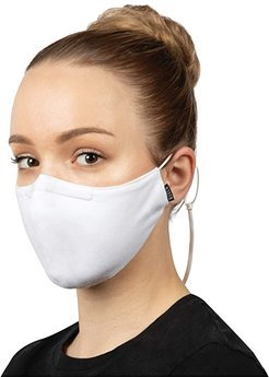 Soft Stretch Face Mask w/ Moldable Nose Pad and Lanyard 3-Pack (White) Scarves