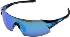 Podiumtm XC Mirrored Interchangeable (Crystal Blue/Clarion Blue/AC Red/Clear Lens) Athletic Performance Sport Sunglasses